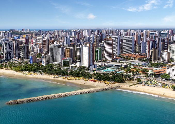 Aerial photo of Fortaleza beach, Ceara, Brazil.